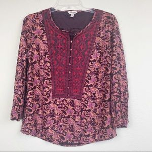 Lucky Brand embroidered long sleeve tunic top